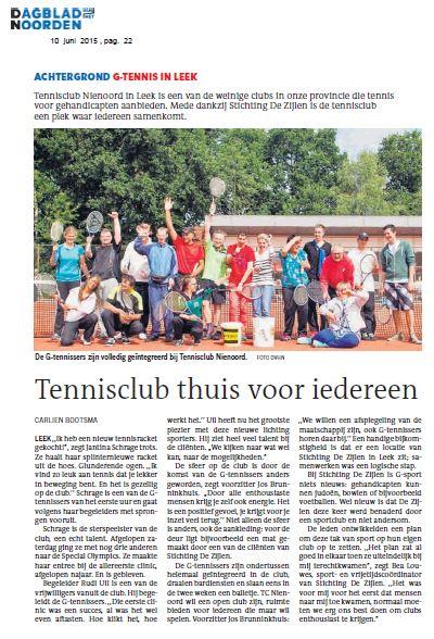 timeless design ed913 0860f Artikel in het Dagblad van het Noorden; G-Tennis in Leek ...
